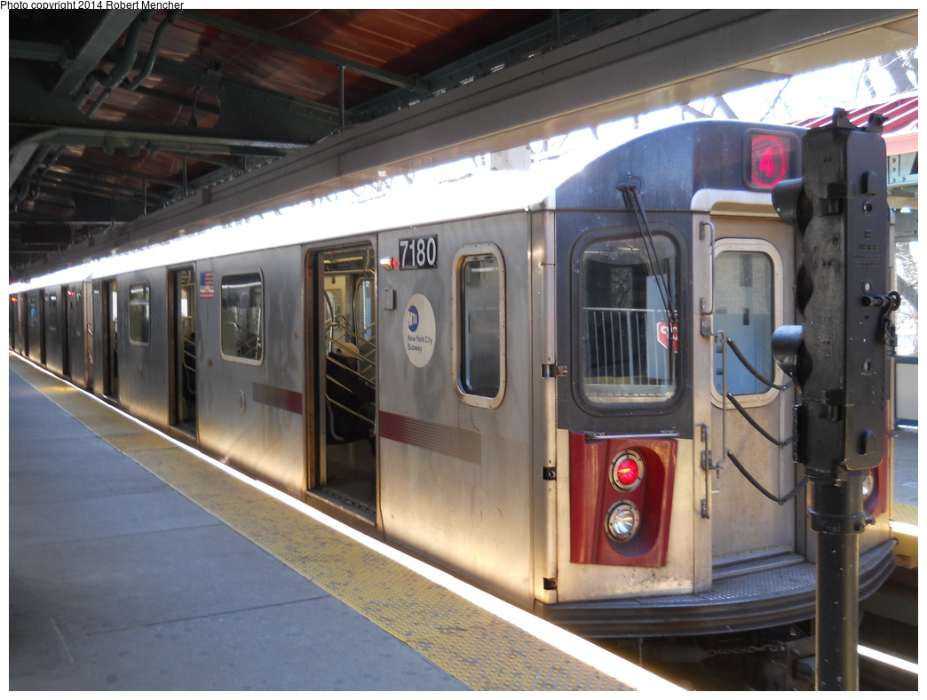 (339k, 1044x788)<br><b>Country:</b> United States<br><b>City:</b> New York<br><b>System:</b> New York City Transit<br><b>Line:</b> IRT Woodlawn Line<br><b>Location:</b> Woodlawn <br><b>Route:</b> 4<br><b>Car:</b> R-142 (Option Order, Bombardier, 2002-2003)  7180 <br><b>Photo by:</b> Robert Mencher<br><b>Date:</b> 4/10/2014<br><b>Viewed (this week/total):</b> 0 / 831