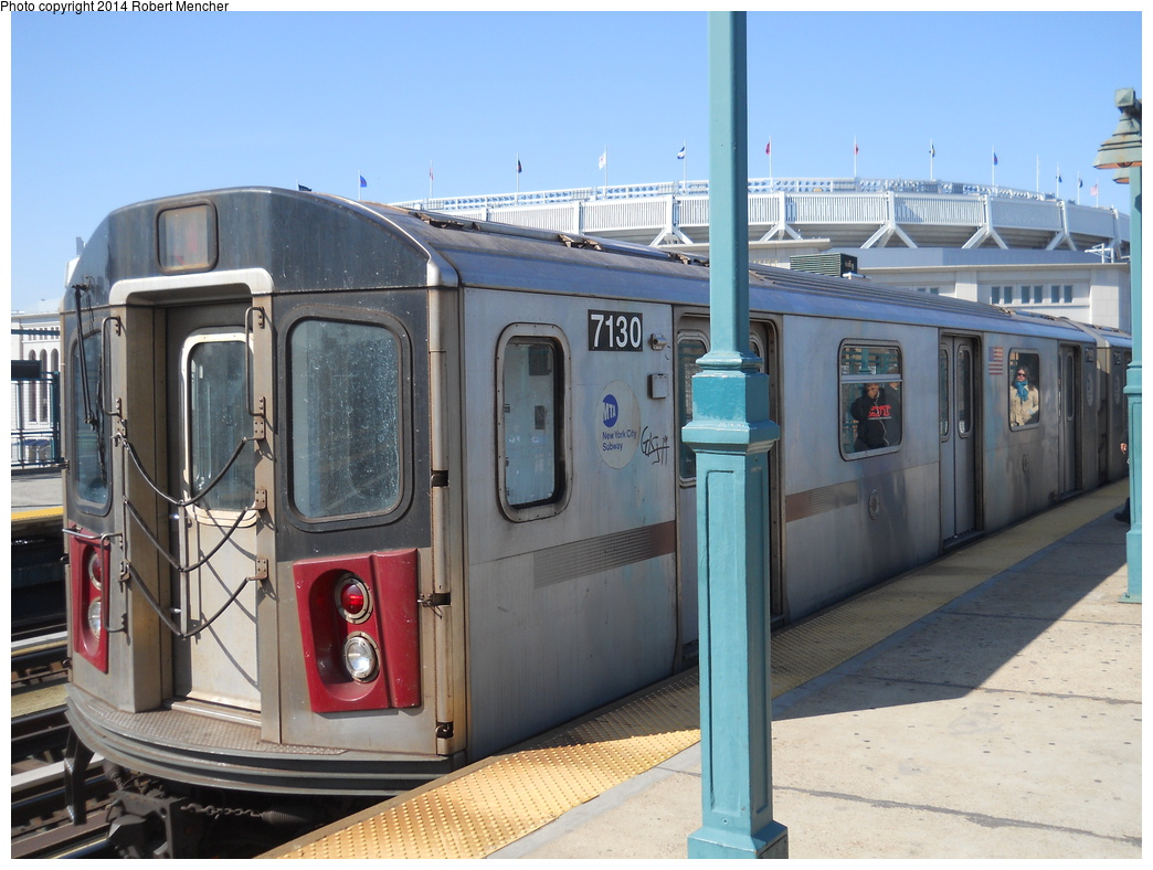 (357k, 1044x788)<br><b>Country:</b> United States<br><b>City:</b> New York<br><b>System:</b> New York City Transit<br><b>Line:</b> IRT Woodlawn Line<br><b>Location:</b> 161st Street/River Avenue (Yankee Stadium) <br><b>Route:</b> 4<br><b>Car:</b> R-142 (Option Order, Bombardier, 2002-2003)  7130 <br><b>Photo by:</b> Robert Mencher<br><b>Date:</b> 4/10/2014<br><b>Viewed (this week/total):</b> 1 / 553