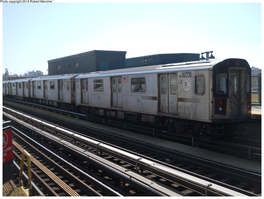 (318k, 1044x788)<br><b>Country:</b> United States<br><b>City:</b> New York<br><b>System:</b> New York City Transit<br><b>Line:</b> IRT Woodlawn Line<br><b>Location:</b> 161st Street/River Avenue (Yankee Stadium) <br><b>Route:</b> 4<br><b>Car:</b> R-142 (Option Order, Bombardier, 2002-2003)  7090 <br><b>Photo by:</b> Robert Mencher<br><b>Date:</b> 4/10/2014<br><b>Viewed (this week/total):</b> 0 / 75