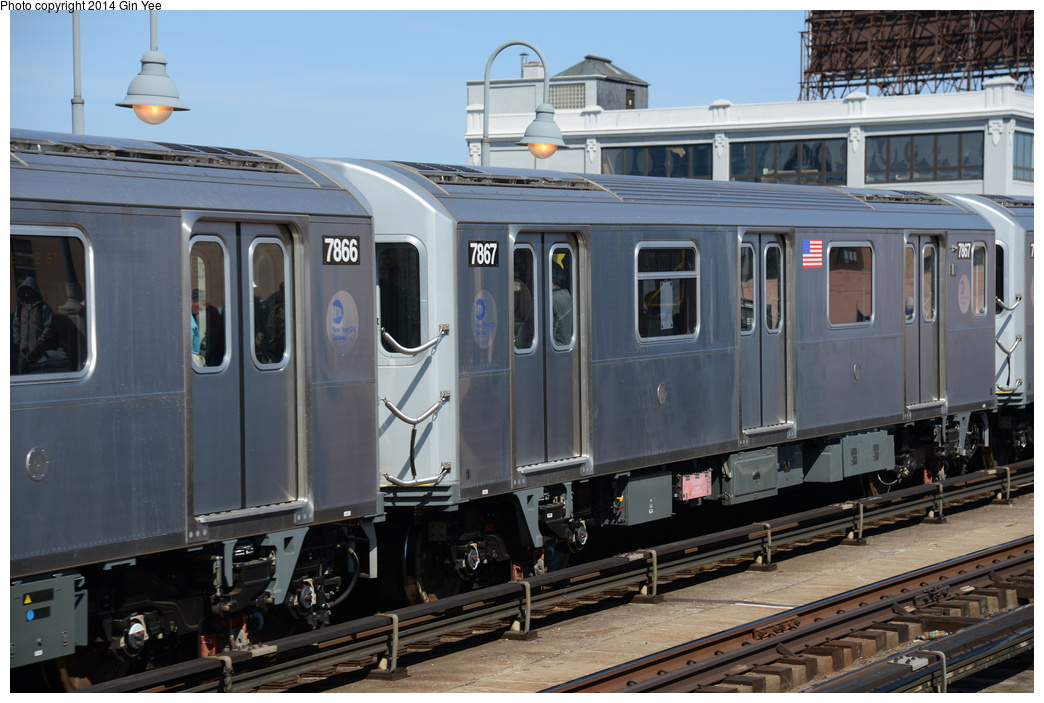 (335k, 1044x703)<br><b>Country:</b> United States<br><b>City:</b> New York<br><b>System:</b> New York City Transit<br><b>Line:</b> IRT Flushing Line<br><b>Location:</b> 33rd Street/Rawson Street <br><b>Route:</b> 7<br><b>Car:</b> R-188 (Kawasaki, 2012-) 7867 <br><b>Photo by:</b> Gin Yee<br><b>Date:</b> 4/10/2014<br><b>Viewed (this week/total):</b> 0 / 287