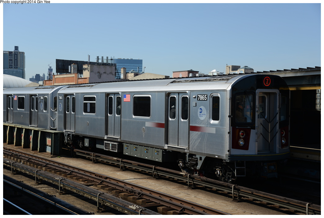 (301k, 1044x703)<br><b>Country:</b> United States<br><b>City:</b> New York<br><b>System:</b> New York City Transit<br><b>Line:</b> IRT Flushing Line<br><b>Location:</b> 33rd Street/Rawson Street <br><b>Route:</b> 7<br><b>Car:</b> R-188 (Kawasaki, 2012-) 7865 <br><b>Photo by:</b> Gin Yee<br><b>Date:</b> 4/10/2014<br><b>Viewed (this week/total):</b> 9 / 266