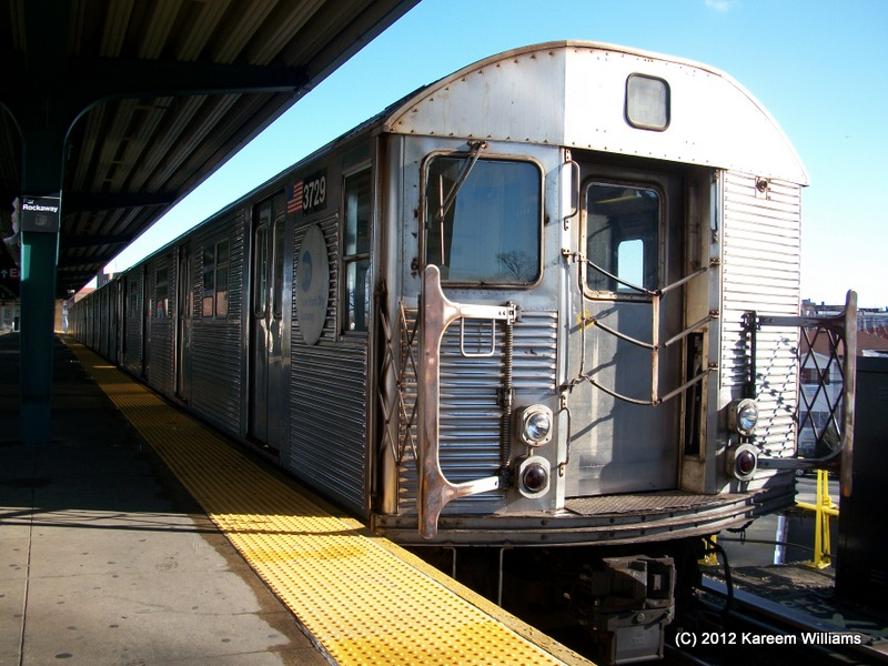 (164k, 800x600)<br><b>Country:</b> United States<br><b>City:</b> New York<br><b>System:</b> New York City Transit<br><b>Line:</b> IND Rockaway<br><b>Location:</b> Mott Avenue/Far Rockaway <br><b>Route:</b> S<br><b>Car:</b> R-32 (Budd, 1964)  3729 <br><b>Photo by:</b> Kareem Williams<br><b>Date:</b> 12/20/2012<br><b>Viewed (this week/total):</b> 1 / 105