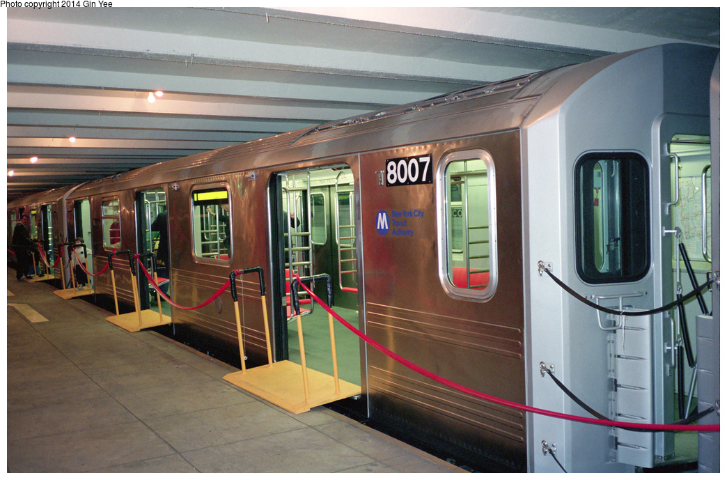 (385k, 1044x689)<br><b>Country:</b> United States<br><b>City:</b> New York<br><b>System:</b> New York City Transit<br><b>Location:</b> New York Transit Museum<br><b>Car:</b> R-110A (Kawasaki, 1992) 8007 <br><b>Photo by:</b> Gin Yee<br><b>Date:</b> 11/1992<br><b>Viewed (this week/total):</b> 3 / 332