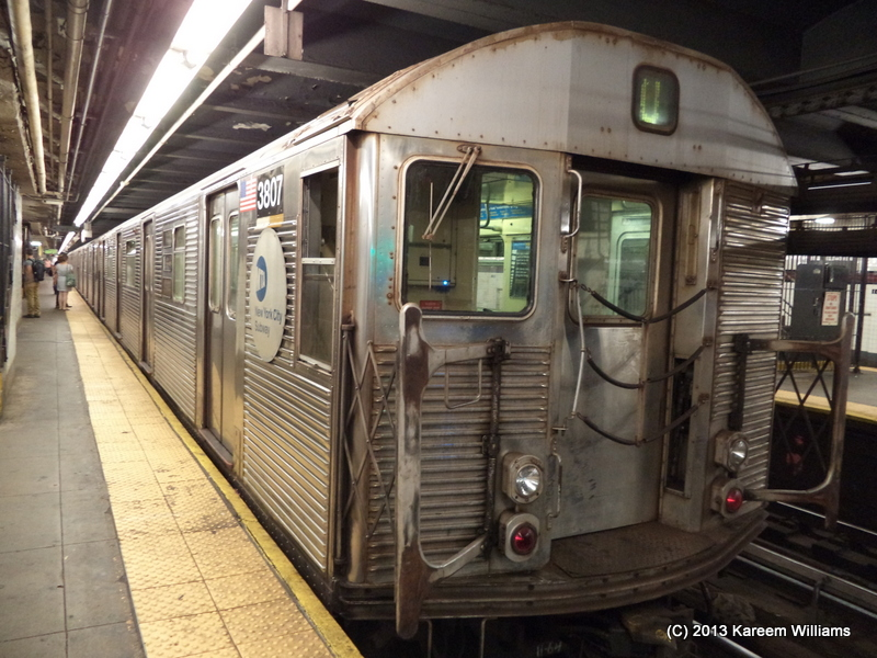 (305k, 800x600)<br><b>Country:</b> United States<br><b>City:</b> New York<br><b>System:</b> New York City Transit<br><b>Line:</b> IND 8th Avenue Line<br><b>Location:</b> 168th Street <br><b>Route:</b> C<br><b>Car:</b> R-32 (Budd, 1964)  3807 <br><b>Photo by:</b> Kareem Williams<br><b>Date:</b> 7/19/2013<br><b>Viewed (this week/total):</b> 1 / 462