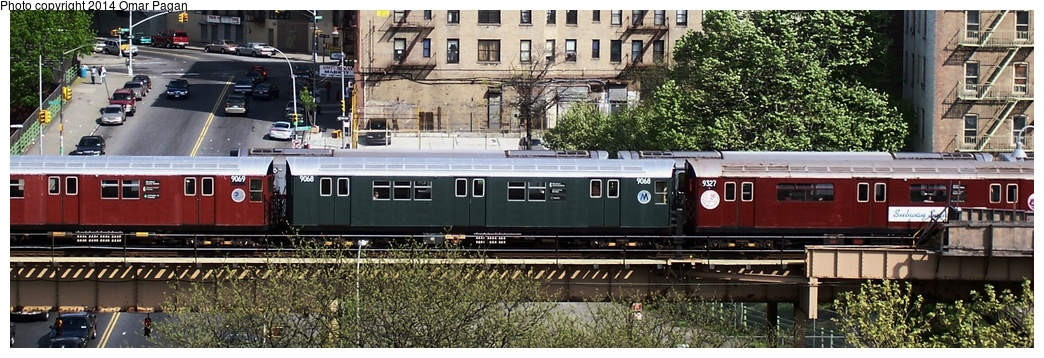 (229k, 1044x358)<br><b>Country:</b> United States<br><b>City:</b> New York<br><b>System:</b> New York City Transit<br><b>Line:</b> IRT Woodlawn Line<br><b>Location:</b> Mt. Eden Avenue <br><b>Route:</b> Fan Trip<br><b>Car:</b> R-33 Main Line (St. Louis, 1962-63) 9068 <br><b>Photo by:</b> Omar Pagan<br><b>Date:</b> 5/1/2005<br><b>Viewed (this week/total):</b> 0 / 411