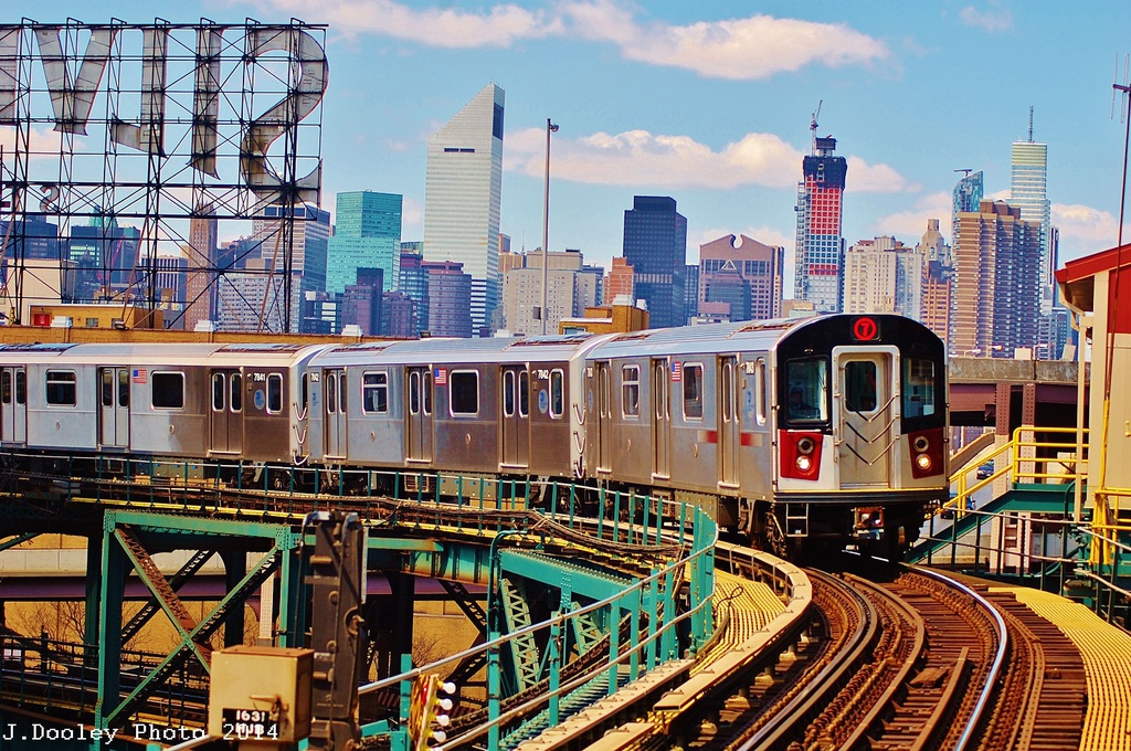 (464k, 1024x680)<br><b>Country:</b> United States<br><b>City:</b> New York<br><b>System:</b> New York City Transit<br><b>Line:</b> IRT Flushing Line<br><b>Location:</b> Queensborough Plaza <br><b>Route:</b> 7<br><b>Car:</b> R-188 (Kawasaki, 2012-) 7843 <br><b>Photo by:</b> John Dooley<br><b>Date:</b> 4/9/2014<br><b>Viewed (this week/total):</b> 5 / 1220