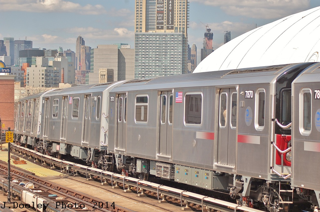 (373k, 1024x680)<br><b>Country:</b> United States<br><b>City:</b> New York<br><b>System:</b> New York City Transit<br><b>Line:</b> IRT Flushing Line<br><b>Location:</b> 61st Street/Woodside <br><b>Route:</b> 7<br><b>Car:</b> R-188 (Kawasaki, 2012-) 7870 <br><b>Photo by:</b> John Dooley<br><b>Date:</b> 4/9/2014<br><b>Viewed (this week/total):</b> 4 / 487