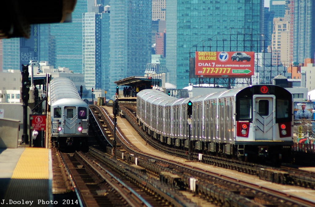(375k, 1024x675)<br><b>Country:</b> United States<br><b>City:</b> New York<br><b>System:</b> New York City Transit<br><b>Line:</b> IRT Flushing Line<br><b>Location:</b> 46th Street/Bliss Street <br><b>Route:</b> 7<br><b>Car:</b> R-188 (Kawasaki, 2012-)  <br><b>Photo by:</b> John Dooley<br><b>Date:</b> 4/9/2014<br><b>Viewed (this week/total):</b> 3 / 1724