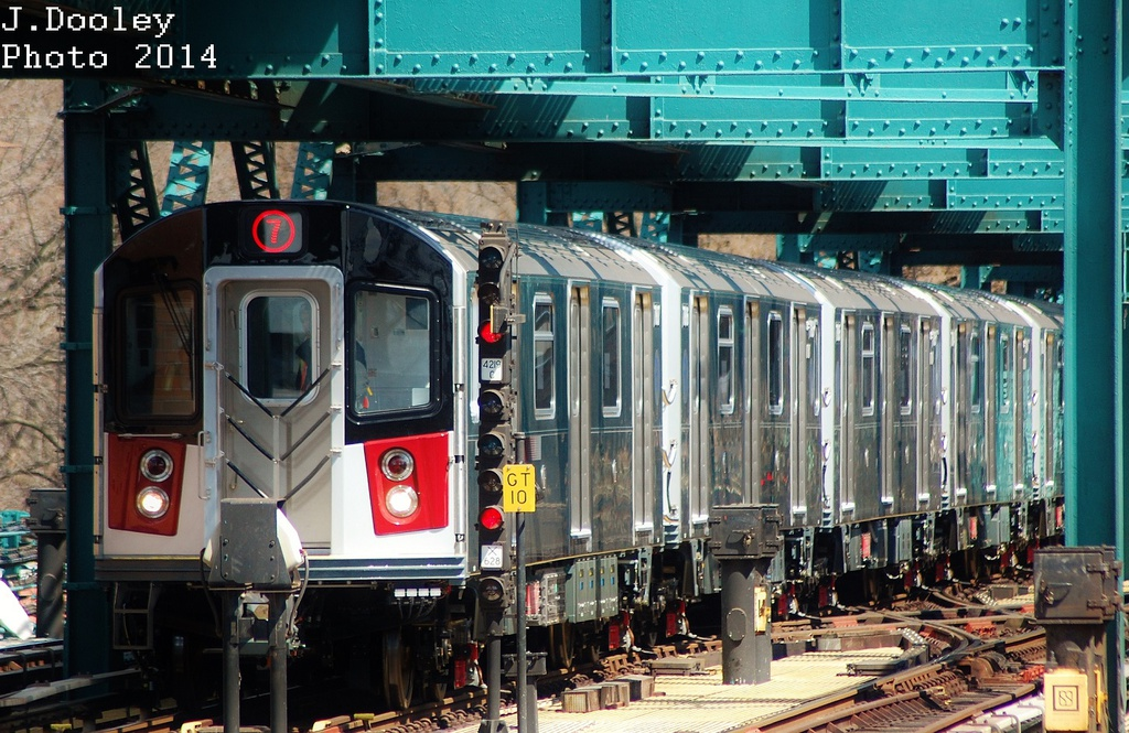 (387k, 1024x665)<br><b>Country:</b> United States<br><b>City:</b> New York<br><b>System:</b> New York City Transit<br><b>Line:</b> IRT Flushing Line<br><b>Location:</b> 111th Street <br><b>Route:</b> 7<br><b>Car:</b> R-188 (Kawasaki, 2012-)  <br><b>Photo by:</b> John Dooley<br><b>Date:</b> 4/9/2014<br><b>Viewed (this week/total):</b> 1 / 661