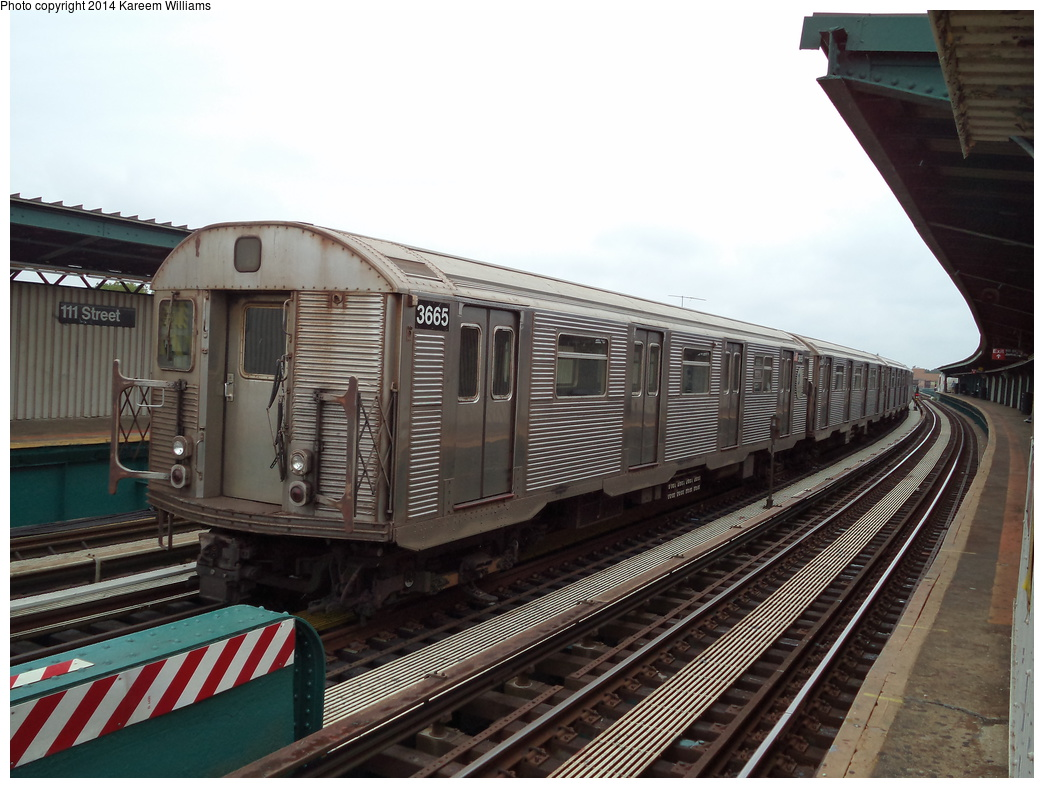 (315k, 1044x788)<br><b>Country:</b> United States<br><b>City:</b> New York<br><b>System:</b> New York City Transit<br><b>Line:</b> BMT Nassau Street/Jamaica Line<br><b>Location:</b> 111th Street <br><b>Route:</b> Layup<br><b>Car:</b> R-32 (Budd, 1964)  3665 <br><b>Photo by:</b> Kareem Williams<br><b>Date:</b> 7/28/2013<br><b>Viewed (this week/total):</b> 6 / 253