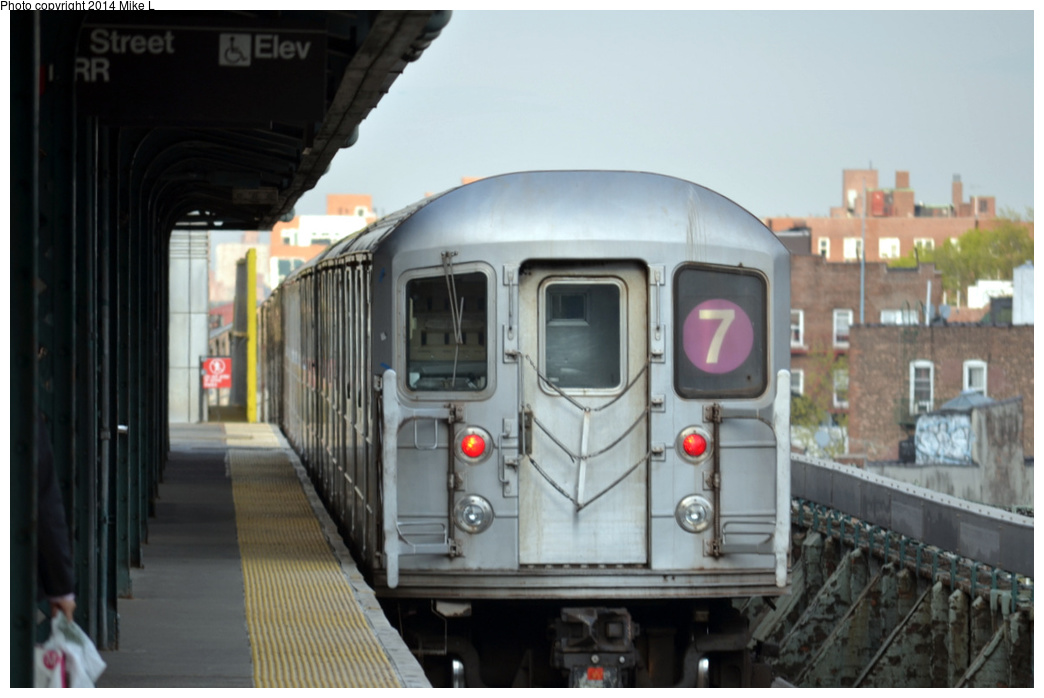 (234k, 1044x698)<br><b>Country:</b> United States<br><b>City:</b> New York<br><b>System:</b> New York City Transit<br><b>Line:</b> IRT Flushing Line<br><b>Location:</b> 61st Street/Woodside <br><b>Route:</b> 7<br><b>Car:</b> R-62A (Bombardier, 1984-1987)   <br><b>Photo by:</b> Mike L.<br><b>Date:</b> 5/3/2014<br><b>Viewed (this week/total):</b> 2 / 240