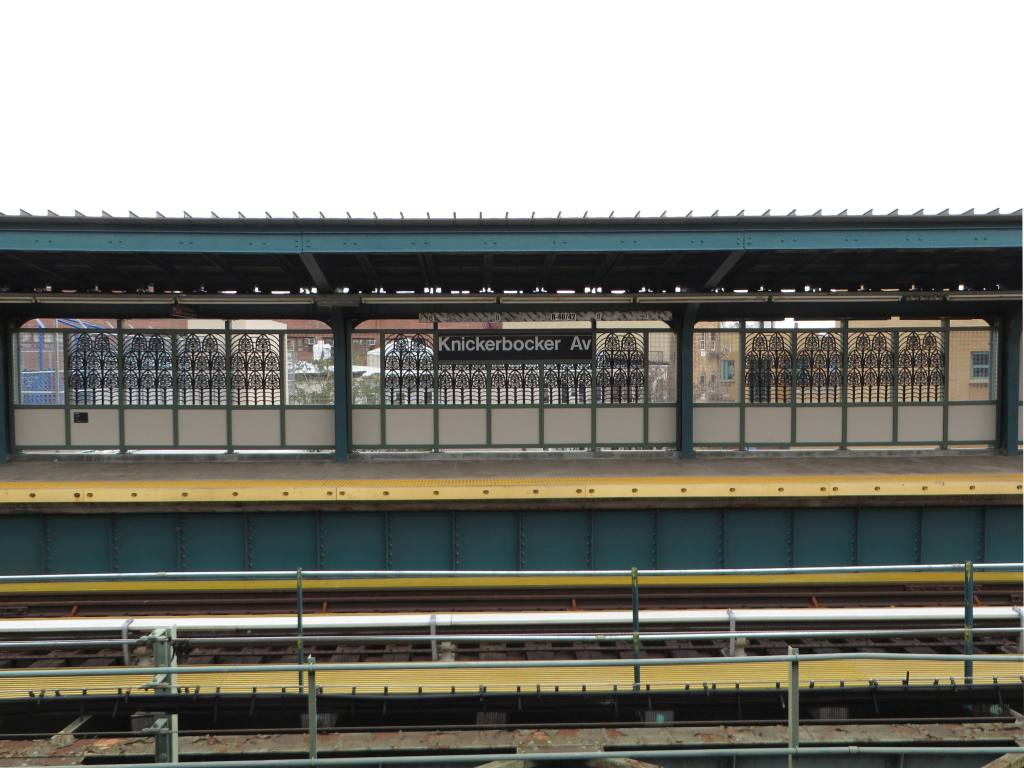 (112k, 1024x768)<br><b>Country:</b> United States<br><b>City:</b> New York<br><b>System:</b> New York City Transit<br><b>Line:</b> BMT Myrtle Avenue Line<br><b>Location:</b> Knickerbocker Avenue <br><b>Photo by:</b> Robbie Rosenfeld<br><b>Date:</b> 5/12/2014<br><b>Artwork:</b> <i>The Digs</i>, Cal Lane (2014).<br><b>Viewed (this week/total):</b> 0 / 245