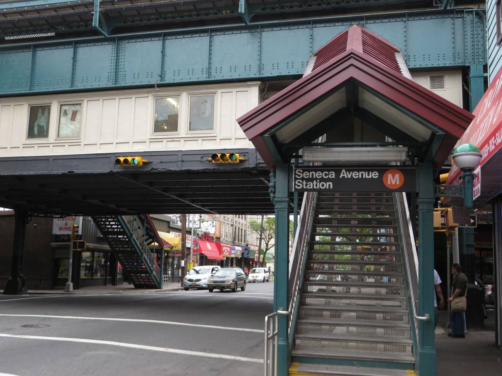 (140k, 1024x768)<br><b>Country:</b> United States<br><b>City:</b> New York<br><b>System:</b> New York City Transit<br><b>Line:</b> BMT Myrtle Avenue Line<br><b>Location:</b> Seneca Avenue <br><b>Photo by:</b> Robbie Rosenfeld<br><b>Date:</b> 5/12/2014<br><b>Viewed (this week/total):</b> 1 / 818