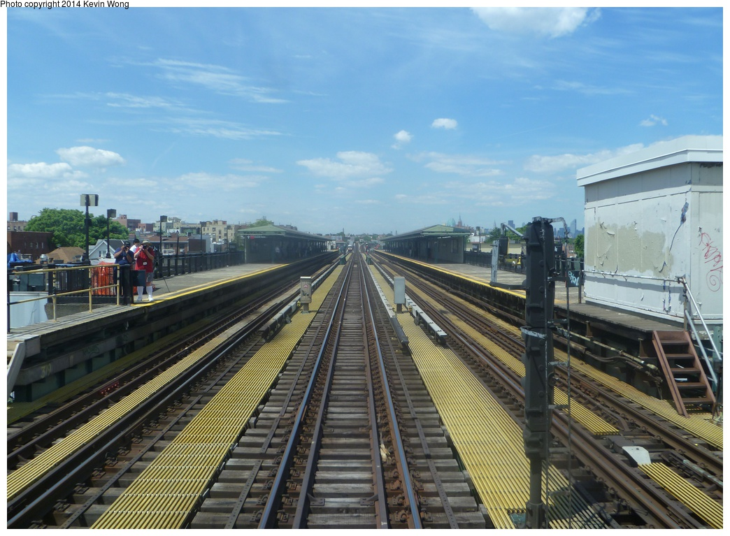 (330k, 1044x767)<br><b>Country:</b> United States<br><b>City:</b> New York<br><b>System:</b> New York City Transit<br><b>Line:</b> IRT Flushing Line<br><b>Location:</b> 69th Street/Fisk Avenue <br><b>Photo by:</b> Kevin Wong<br><b>Date:</b> 6/8/2014<br><b>Notes:</b> Station view<br><b>Viewed (this week/total):</b> 5 / 640
