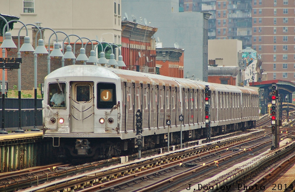 (398k, 1024x668)<br><b>Country:</b> United States<br><b>City:</b> New York<br><b>System:</b> New York City Transit<br><b>Line:</b> BMT Nassau Street/Jamaica Line<br><b>Location:</b> Marcy Avenue <br><b>Route:</b> J<br><b>Car:</b> R-42 (St. Louis, 1969-1970)   <br><b>Photo by:</b> John Dooley<br><b>Date:</b> 6/9/2014<br><b>Viewed (this week/total):</b> 3 / 1133
