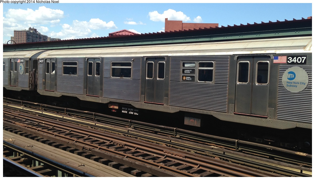 (264k, 1044x596)<br><b>Country:</b> United States<br><b>City:</b> New York<br><b>System:</b> New York City Transit<br><b>Line:</b> BMT Nassau Street/Jamaica Line<br><b>Location:</b> Flushing Avenue <br><b>Route:</b> J<br><b>Car:</b> R-32 (Budd, 1964)  3407 <br><b>Photo by:</b> Nicholas Noel<br><b>Date:</b> 6/7/2014<br><b>Viewed (this week/total):</b> 1 / 731