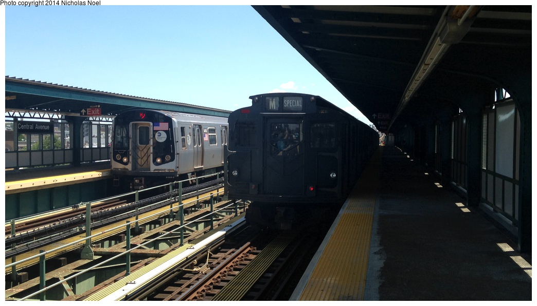 (214k, 1044x596)<br><b>Country:</b> United States<br><b>City:</b> New York<br><b>System:</b> New York City Transit<br><b>Line:</b> BMT Myrtle Avenue Line<br><b>Location:</b> Central Avenue <br><b>Route:</b> Museum Train Service (M)<br><b>Car:</b> R-9 (Pressed Steel, 1940)  1802 <br><b>Photo by:</b> Nicholas Noel<br><b>Date:</b> 6/7/2014<br><b>Viewed (this week/total):</b> 5 / 892
