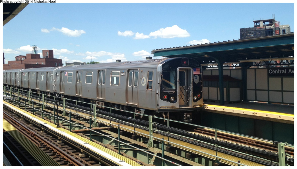 (263k, 1044x596)<br><b>Country:</b> United States<br><b>City:</b> New York<br><b>System:</b> New York City Transit<br><b>Line:</b> BMT Myrtle Avenue Line<br><b>Location:</b> Central Avenue <br><b>Route:</b> M<br><b>Car:</b> R-160A-1 (Alstom, 2005-2008, 4 car sets)  8413 <br><b>Photo by:</b> Nicholas Noel<br><b>Date:</b> 6/7/2014<br><b>Viewed (this week/total):</b> 4 / 259