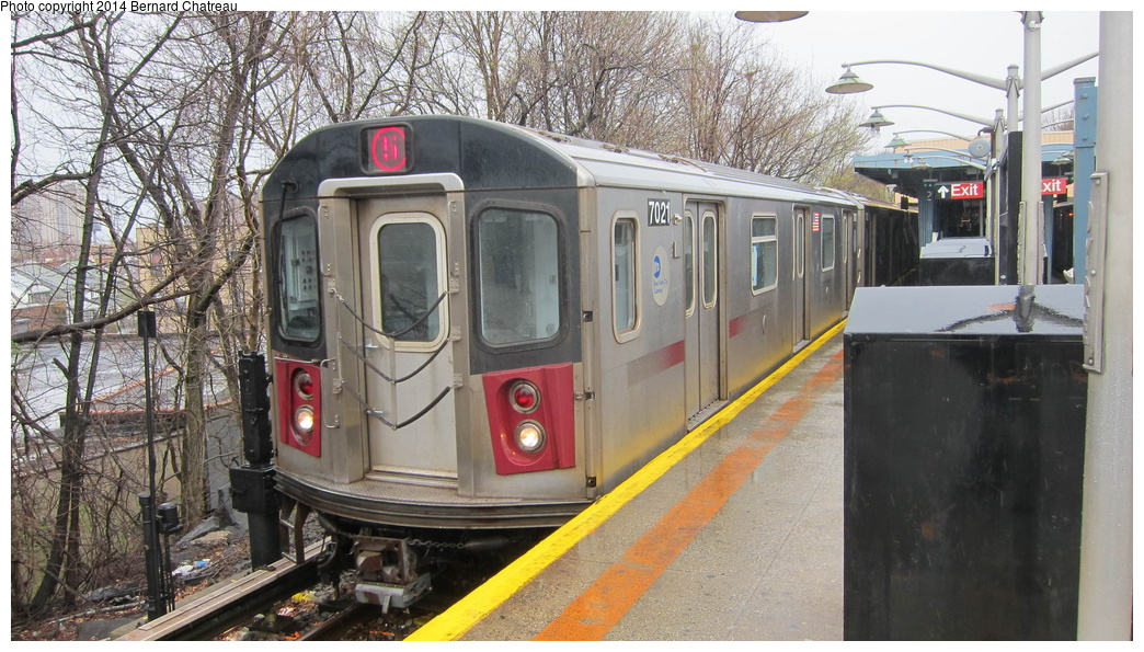 (323k, 1044x595)<br><b>Country:</b> United States<br><b>City:</b> New York<br><b>System:</b> New York City Transit<br><b>Line:</b> IRT Dyre Ave. Line<br><b>Location:</b> Dyre Avenue <br><b>Route:</b> 5<br><b>Car:</b> R-142 (Option Order, Bombardier, 2002-2003)  7021 <br><b>Photo by:</b> Bernard Chatreau<br><b>Date:</b> 4/12/2011<br><b>Viewed (this week/total):</b> 3 / 845