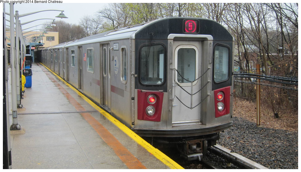 (307k, 1044x595)<br><b>Country:</b> United States<br><b>City:</b> New York<br><b>System:</b> New York City Transit<br><b>Line:</b> IRT Dyre Ave. Line<br><b>Location:</b> Dyre Avenue <br><b>Route:</b> 5<br><b>Car:</b> R-142 (Primary Order, Bombardier, 1999-2002)  6630 <br><b>Photo by:</b> Bernard Chatreau<br><b>Date:</b> 4/12/2011<br><b>Viewed (this week/total):</b> 0 / 72