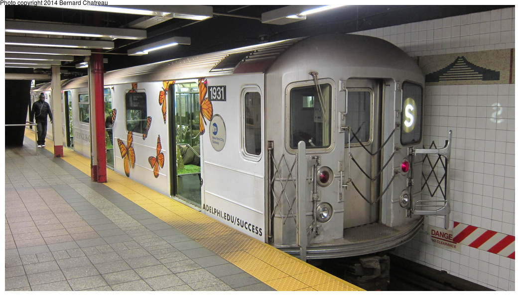 (268k, 1044x595)<br><b>Country:</b> United States<br><b>City:</b> New York<br><b>System:</b> New York City Transit<br><b>Line:</b> IRT Times Square-Grand Central Shuttle<br><b>Location:</b> Grand Central <br><b>Route:</b> S<br><b>Car:</b> R-62A (Bombardier, 1984-1987)  1931 <br><b>Photo by:</b> Bernard Chatreau<br><b>Date:</b> 4/8/2011<br><b>Viewed (this week/total):</b> 1 / 432