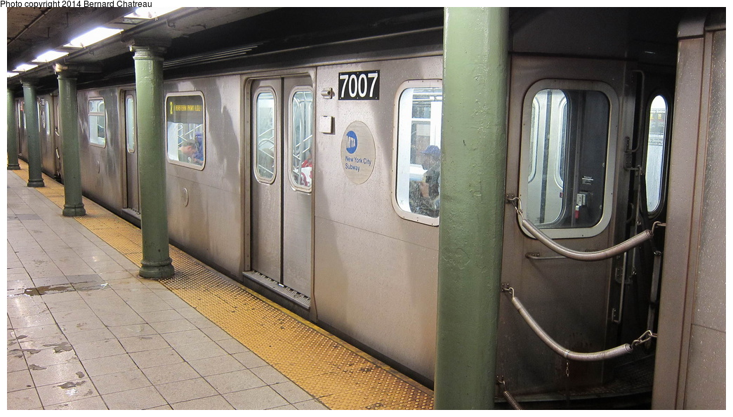 (271k, 1044x594)<br><b>Country:</b> United States<br><b>City:</b> New York<br><b>System:</b> New York City Transit<br><b>Line:</b> IRT Lenox Line<br><b>Location:</b> 135th Street <br><b>Route:</b> 2<br><b>Car:</b> R-142 (Option Order, Bombardier, 2002-2003)  7007 <br><b>Photo by:</b> Bernard Chatreau<br><b>Date:</b> 9/23/2011<br><b>Viewed (this week/total):</b> 3 / 990