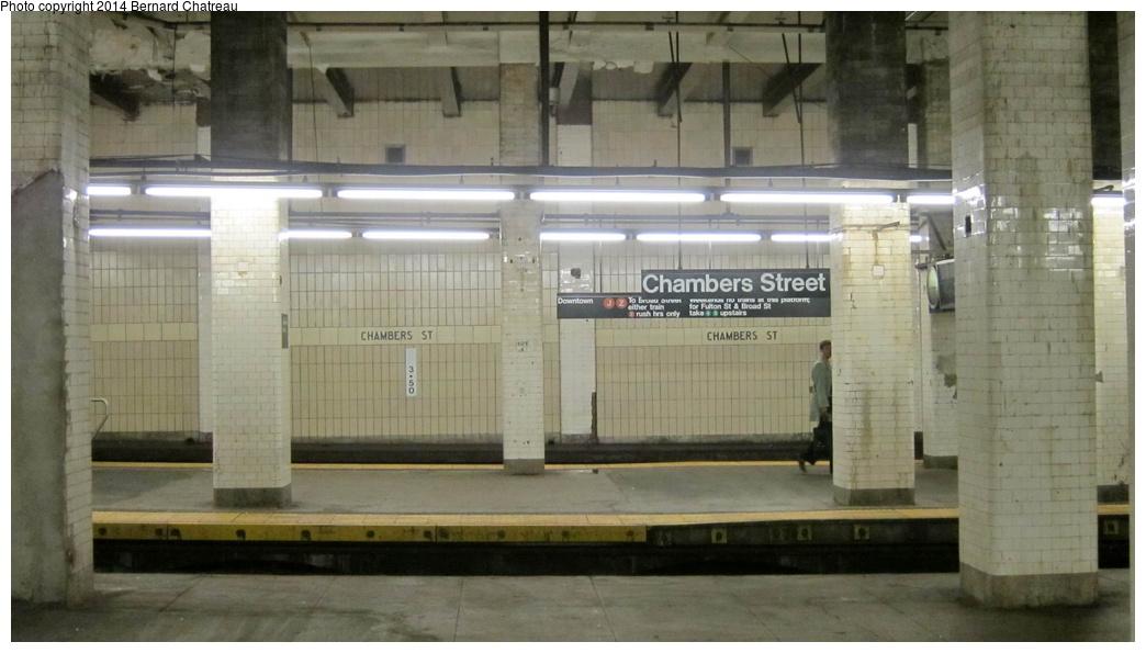 (218k, 1044x595)<br><b>Country:</b> United States<br><b>City:</b> New York<br><b>System:</b> New York City Transit<br><b>Line:</b> BMT Nassau Street/Jamaica Line<br><b>Location:</b> Chambers Street <br><b>Photo by:</b> Bernard Chatreau<br><b>Date:</b> 4/11/2011<br><b>Viewed (this week/total):</b> 1 / 855