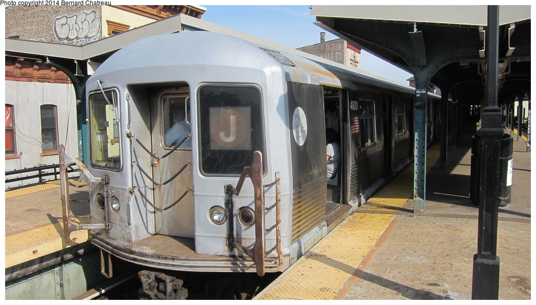 (277k, 1044x595)<br><b>Country:</b> United States<br><b>City:</b> New York<br><b>System:</b> New York City Transit<br><b>Line:</b> BMT Nassau Street/Jamaica Line<br><b>Location:</b> Myrtle Avenue <br><b>Route:</b> J<br><b>Car:</b> R-42 (St. Louis, 1969-1970)  4800 <br><b>Photo by:</b> Bernard Chatreau<br><b>Date:</b> 4/11/2011<br><b>Viewed (this week/total):</b> 1 / 688