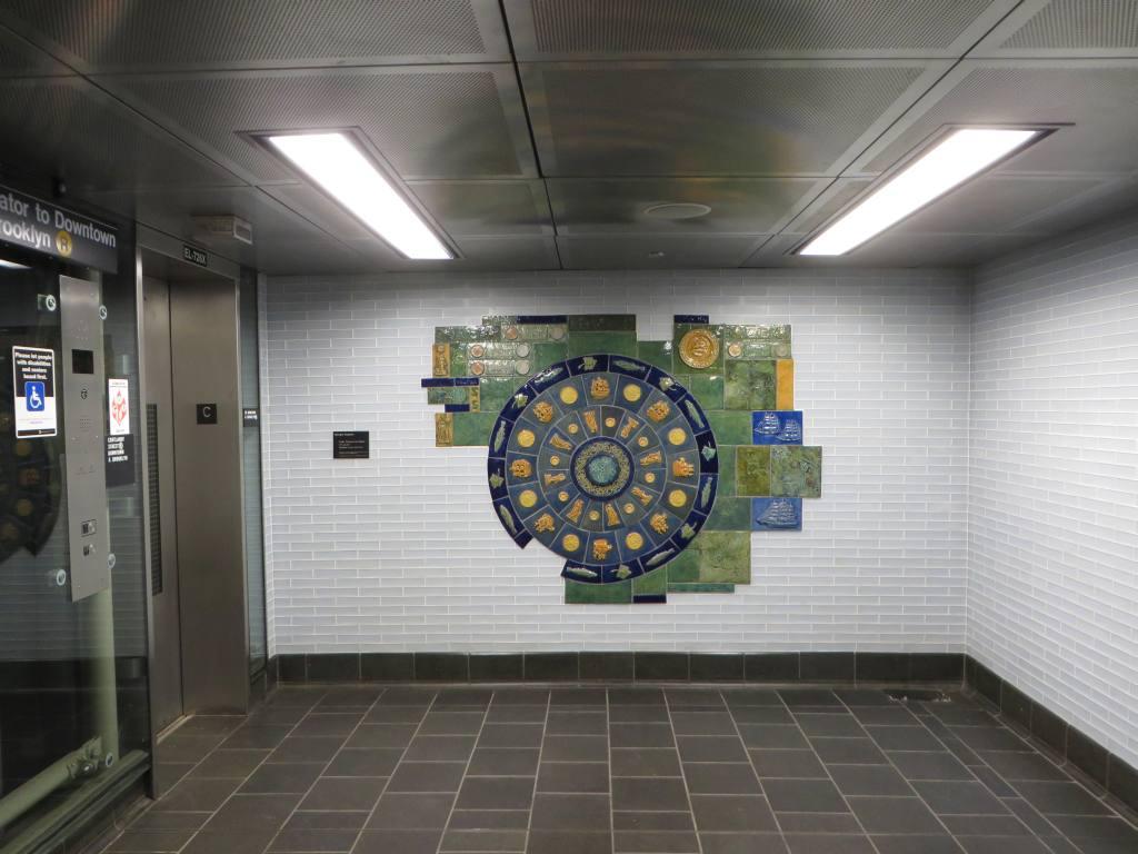 (102k, 1024x768)<br><b>Country:</b> United States<br><b>City:</b> New York<br><b>System:</b> New York City Transit<br><b>Line:</b> BMT Broadway Line<br><b>Location:</b> Cortlandt Street-World Trade Center <br><b>Photo by:</b> Robbie Rosenfeld<br><b>Date:</b> 11/10/2014<br><b>Artwork:</b> <i>Trade, Treasure, and Travel</i>, Margie Hughto (1997).<br><b>Viewed (this week/total):</b> 3 / 595