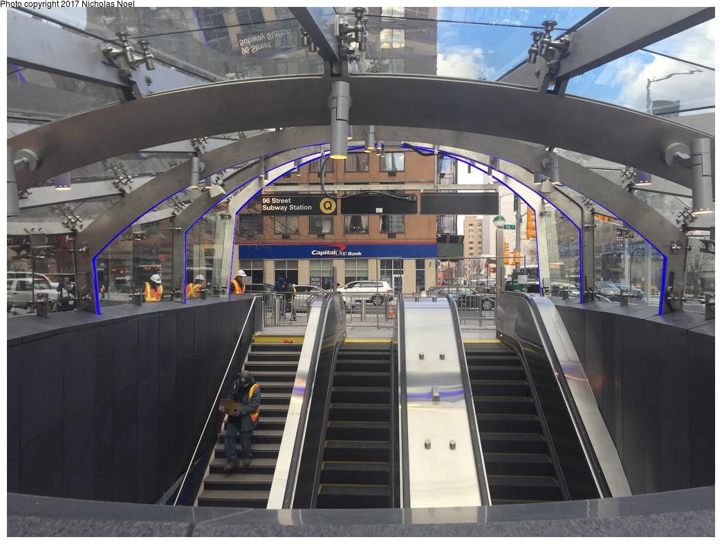 (302k, 1044x788)<br><b>Country:</b> United States<br><b>City:</b> New York<br><b>System:</b> New York City Transit<br><b>Line:</b> 2nd Avenue Subway<br><b>Location:</b> 96th Street <br><b>Photo by:</b> Nicholas Noel<br><b>Date:</b> 12/30/2016<br><b>Notes:</b> Finishing touches two days before opening.<br><b>Viewed (this week/total):</b> 11 / 371