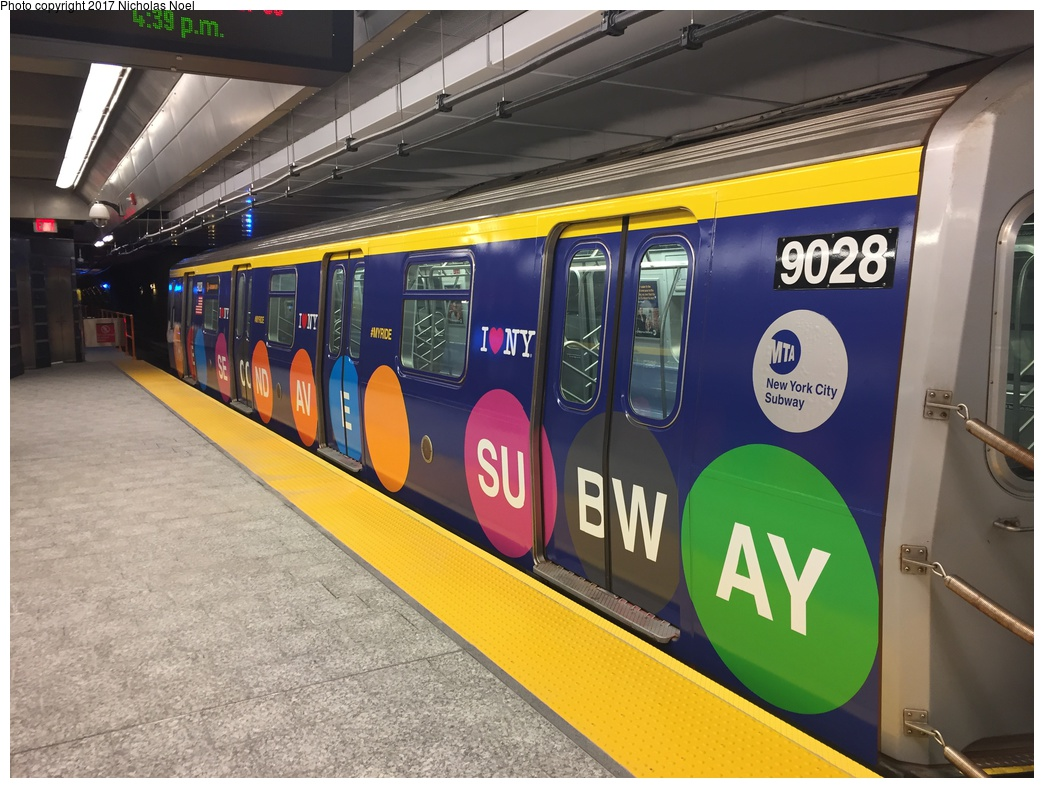 (307k, 1044x788)<br><b>Country:</b> United States<br><b>City:</b> New York<br><b>System:</b> New York City Transit<br><b>Line:</b> 2nd Avenue Subway<br><b>Location:</b> 86th Street <br><b>Car:</b> R-160B (Option 1) (Kawasaki, 2008-2009)  9028 <br><b>Photo by:</b> Nicholas Noel<br><b>Date:</b> 12/30/2016<br><b>Notes:</b> Wrapped train laid up. Open house at 86th Street.<br><b>Viewed (this week/total):</b> 3 / 215