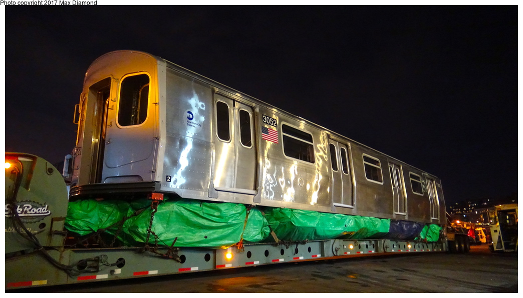 (218k, 1044x596)<br><b>Country:</b> United States<br><b>City:</b> New York<br><b>System:</b> New York City Transit<br><b>Location:</b> 207th Street Yard<br><b>Car:</b> R-179 (Bombardier, 2016-) 3052 <br><b>Photo by:</b> Max Diamond<br><b>Date:</b> 12/21/2016<br><b>Notes:</b> Delivery to 207th St. Yard.<br><b>Viewed (this week/total):</b> 5 / 376
