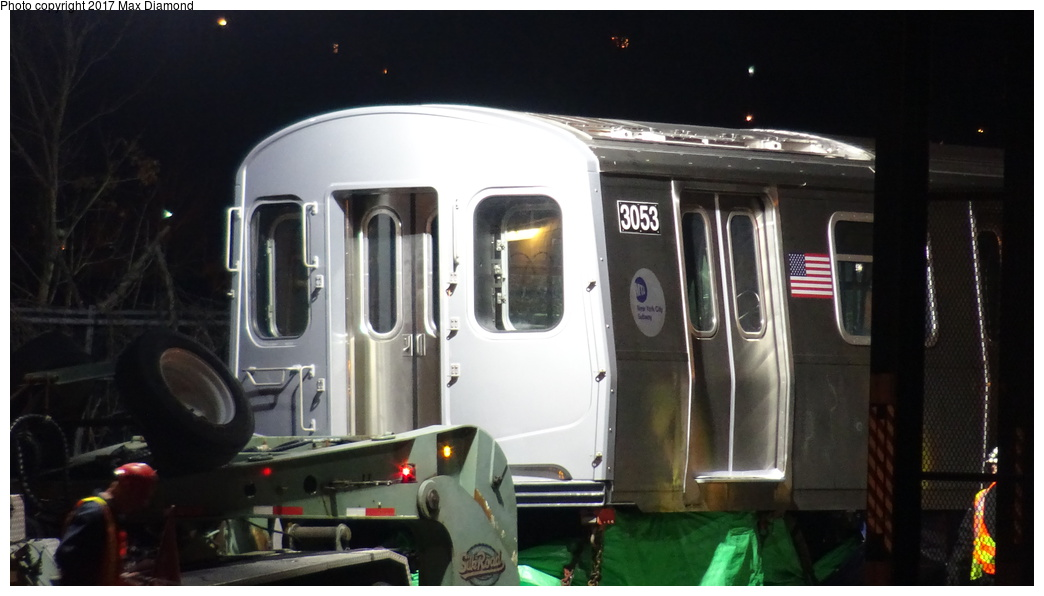 (219k, 1044x596)<br><b>Country:</b> United States<br><b>City:</b> New York<br><b>System:</b> New York City Transit<br><b>Location:</b> 207th Street Yard<br><b>Car:</b> R-179 (Bombardier, 2016-) 3053 <br><b>Photo by:</b> Max Diamond<br><b>Date:</b> 12/21/2016<br><b>Notes:</b> Delivery to 207th St. Yard.<br><b>Viewed (this week/total):</b> 1 / 428