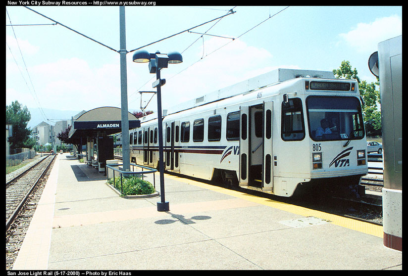 (149k, 824x558)<br><b>Country:</b> United States<br><b>City:</b> San Jose, CA<br><b>System:</b> Santa Clara VTA<br><b>Line:</b> VTA Almaden Shuttle<br><b>Location:</b> Almaden <br><b>Car:</b> VTA UTDC 805 <br><b>Photo by:</b> Eric Haas<br><b>Date:</b> 5/17/2000<br><b>Viewed (this week/total):</b> 0 / 1679