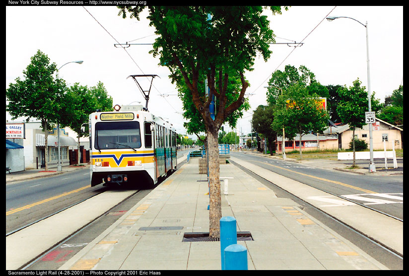 (168k, 824x557)<br><b>Country:</b> United States<br><b>City:</b> Sacramento, CA<br><b>System:</b> SACRT Light Rail<br><b>Location:</b> Globe Avenue <br><b>Car:</b> Sacramento Siemens LRV  114 <br><b>Photo by:</b> Eric Haas<br><b>Date:</b> 4/28/2001<br><b>Viewed (this week/total):</b> 1 / 1776