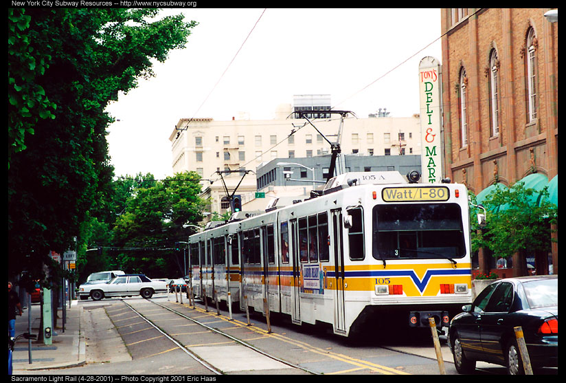 (171k, 824x557)<br><b>Country:</b> United States<br><b>City:</b> Sacramento, CA<br><b>System:</b> SACRT Light Rail<br><b>Location:</b> 12th & I <br><b>Car:</b> Sacramento Siemens LRV  105 <br><b>Photo by:</b> Eric Haas<br><b>Date:</b> 4/28/2001<br><b>Viewed (this week/total):</b> 0 / 1630