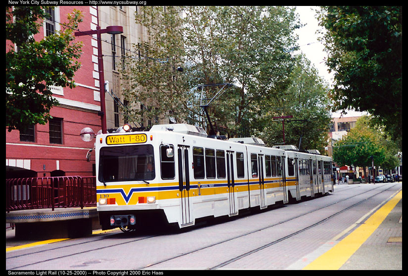 (200k, 824x557)<br><b>Country:</b> United States<br><b>City:</b> Sacramento, CA<br><b>System:</b> SACRT Light Rail<br><b>Location:</b> Cathedral Square <br><b>Car:</b> Sacramento Siemens LRV  130 <br><b>Photo by:</b> Eric Haas<br><b>Date:</b> 10/25/2000<br><b>Viewed (this week/total):</b> 1 / 1699