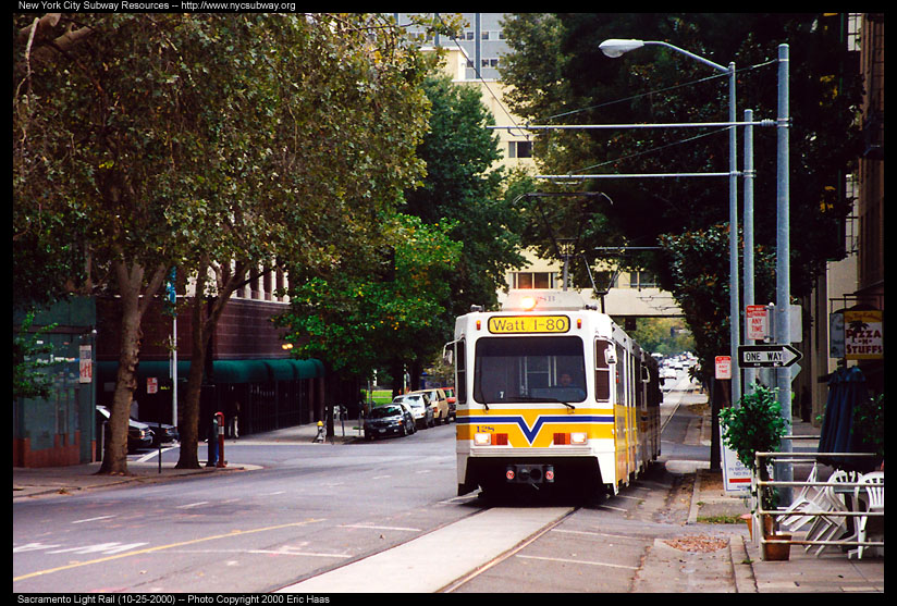 (184k, 824x557)<br><b>Country:</b> United States<br><b>City:</b> Sacramento, CA<br><b>System:</b> SACRT Light Rail<br><b>Location:</b> St. Rose of Lima Park <br><b>Car:</b> Sacramento Siemens LRV  128 <br><b>Photo by:</b> Eric Haas<br><b>Date:</b> 10/25/2000<br><b>Viewed (this week/total):</b> 3 / 1426