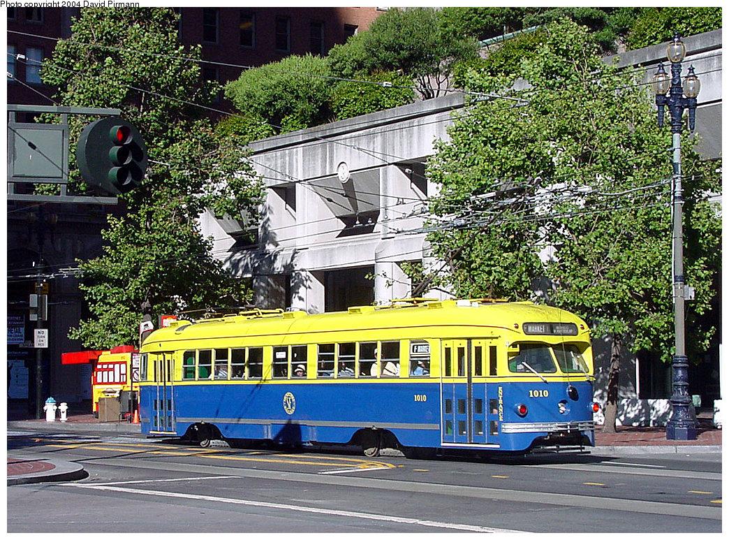 (407k, 1044x773)<br><b>Country:</b> United States<br><b>City:</b> San Francisco/Bay Area, CA<br><b>System:</b> SF MUNI<br><b>Location:</b> Market/Drumm/California <br><b>Route:</b> F-Market<br><b>Car:</b> SF MUNI PCC Torpedo Double-End (St. Louis Car Co., 1948)  1010 <br><b>Photo by:</b> David Pirmann<br><b>Date:</b> 7/6/2002<br><b>Viewed (this week/total):</b> 0 / 3603
