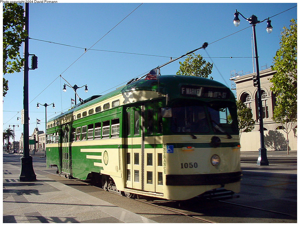 (306k, 1044x788)<br><b>Country:</b> United States<br><b>City:</b> San Francisco/Bay Area, CA<br><b>System:</b> SF MUNI<br><b>Location:</b> Embarcadero/Ferry Building <br><b>Route:</b> F-Market<br><b>Car:</b> SF MUNI PCC (Ex-SEPTA) (St. Louis Car Co., 1947-1948)  1050 <br><b>Photo by:</b> David Pirmann<br><b>Date:</b> 7/6/2002<br><b>Viewed (this week/total):</b> 0 / 3193