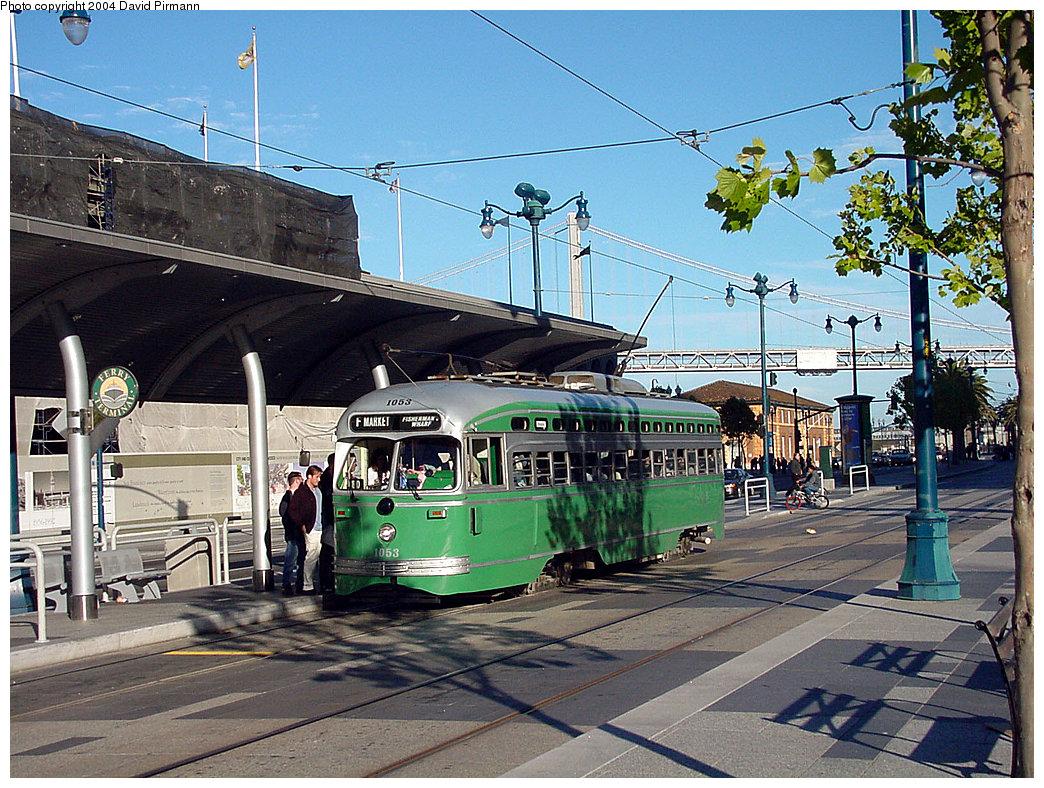 (328k, 1044x788)<br><b>Country:</b> United States<br><b>City:</b> San Francisco/Bay Area, CA<br><b>System:</b> SF MUNI<br><b>Location:</b> Embarcadero/Ferry Building <br><b>Route:</b> F-Market<br><b>Car:</b> SF MUNI PCC (Ex-SEPTA) (St. Louis Car Co., 1947-1948)  1053 <br><b>Photo by:</b> David Pirmann<br><b>Date:</b> 7/6/2002<br><b>Viewed (this week/total):</b> 4 / 1676
