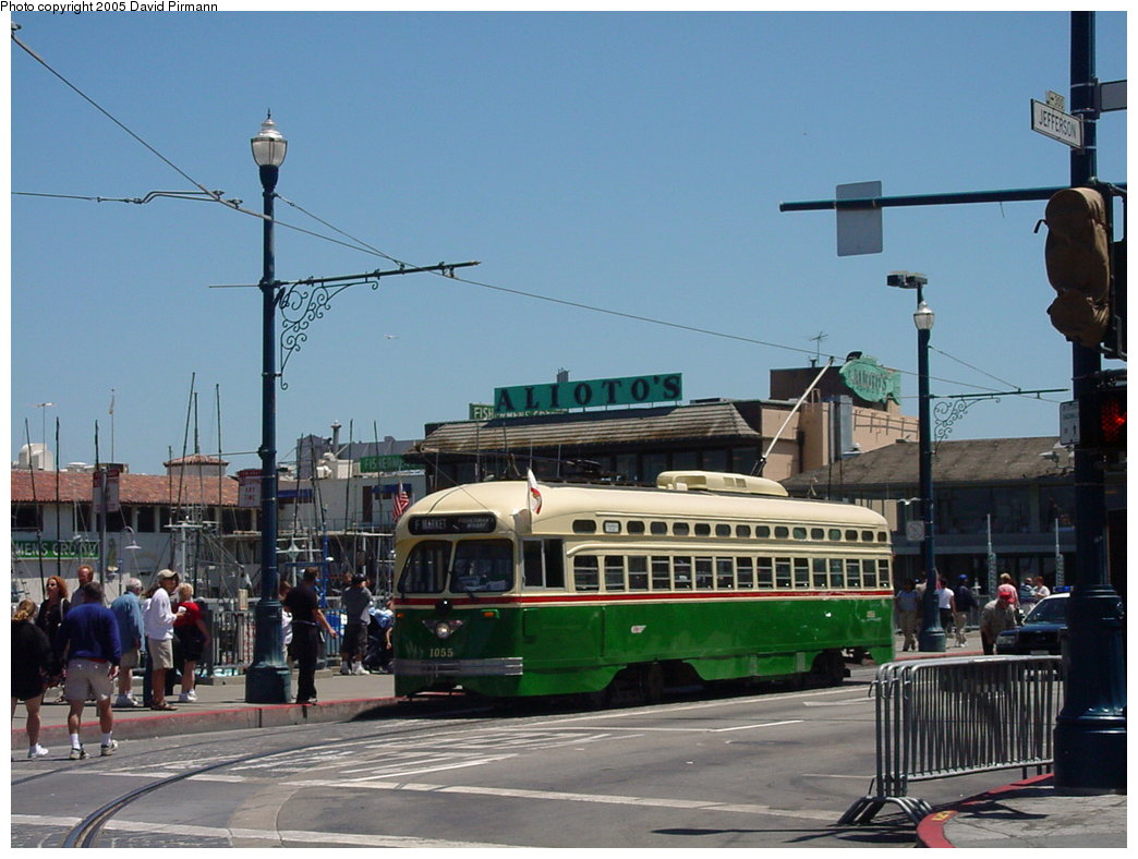 (162k, 1044x788)<br><b>Country:</b> United States<br><b>City:</b> San Francisco/Bay Area, CA<br><b>System:</b> SF MUNI<br><b>Location:</b> Jefferson/Jones <br><b>Route:</b> F-Market<br><b>Car:</b> SF MUNI PCC (Ex-SEPTA) (St. Louis Car Co., 1947-1948)  1055 <br><b>Photo by:</b> David Pirmann<br><b>Date:</b> 7/3/2002<br><b>Viewed (this week/total):</b> 1 / 2751