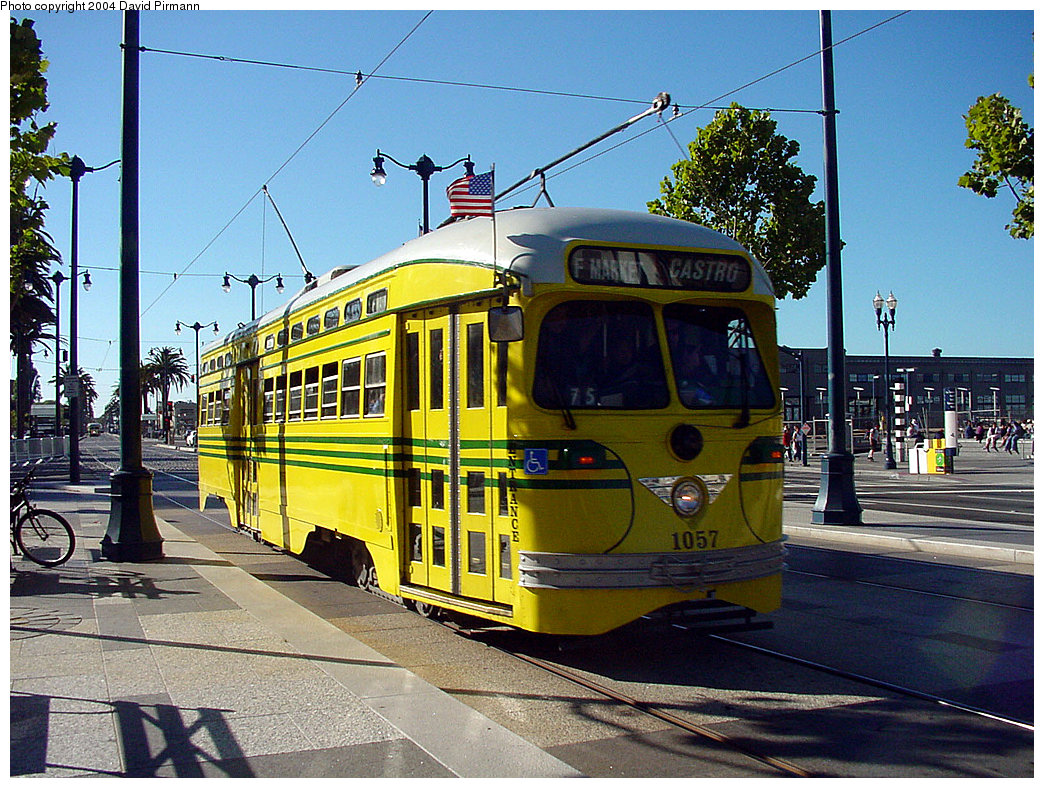 (325k, 1044x788)<br><b>Country:</b> United States<br><b>City:</b> San Francisco/Bay Area, CA<br><b>System:</b> SF MUNI<br><b>Location:</b> Embarcadero/Ferry Building <br><b>Route:</b> F-Market<br><b>Car:</b> SF MUNI PCC (Ex-SEPTA) (St. Louis Car Co., 1947-1948)  1057 <br><b>Photo by:</b> David Pirmann<br><b>Date:</b> 7/6/2002<br><b>Viewed (this week/total):</b> 1 / 1420