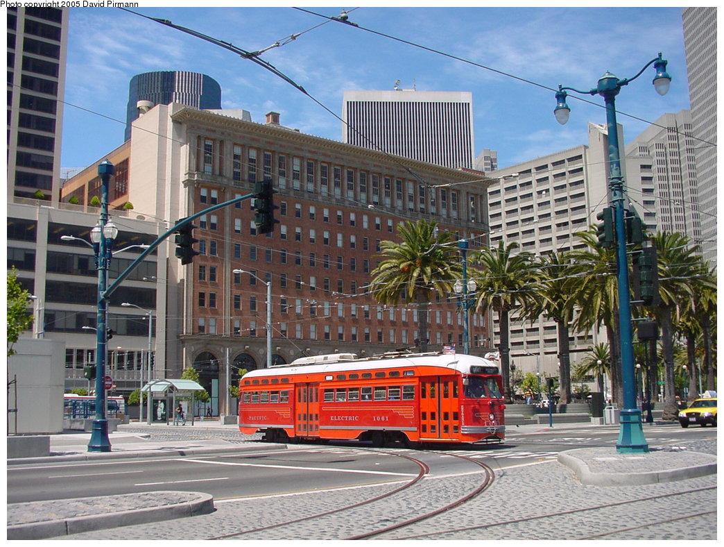 (238k, 1044x788)<br><b>Country:</b> United States<br><b>City:</b> San Francisco/Bay Area, CA<br><b>System:</b> SF MUNI<br><b>Location:</b> Don Chee Way/Justin Herman Plaza <br><b>Route:</b> F-Market<br><b>Car:</b> SF MUNI PCC (Ex-SEPTA) (St. Louis Car Co., 1947-1948)  1061 <br><b>Photo by:</b> David Pirmann<br><b>Date:</b> 7/5/2002<br><b>Viewed (this week/total):</b> 1 / 1322