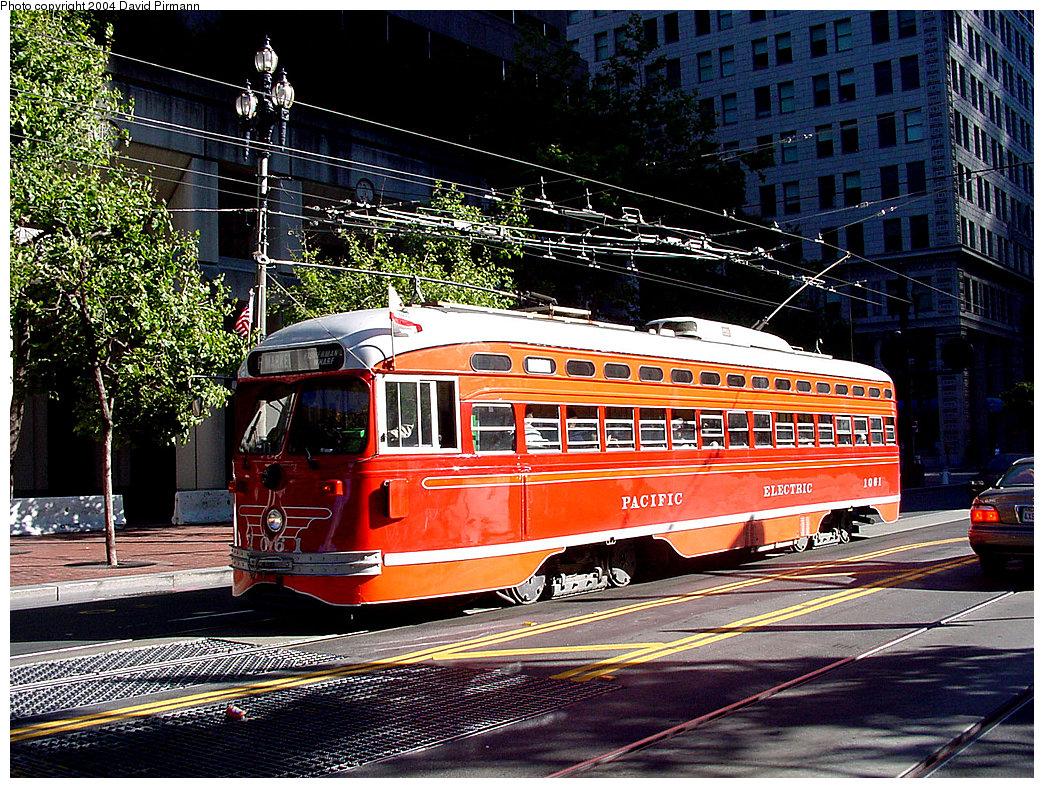 (398k, 1044x788)<br><b>Country:</b> United States<br><b>City:</b> San Francisco/Bay Area, CA<br><b>System:</b> SF MUNI<br><b>Location:</b> Market/Drumm/California <br><b>Route:</b> F-Market<br><b>Car:</b> SF MUNI PCC (Ex-SEPTA) (St. Louis Car Co., 1947-1948)  1061 <br><b>Photo by:</b> David Pirmann<br><b>Date:</b> 7/6/2002<br><b>Viewed (this week/total):</b> 8 / 4446