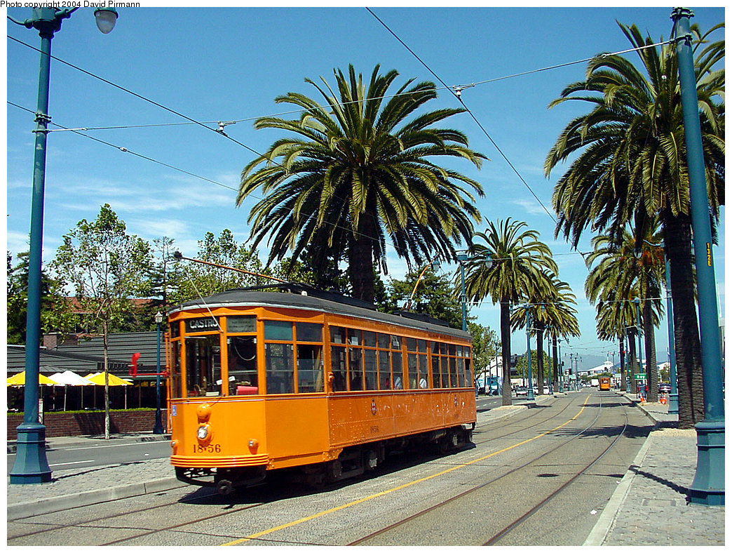 (393k, 1044x788)<br><b>Country:</b> United States<br><b>City:</b> San Francisco/Bay Area, CA<br><b>System:</b> SF MUNI<br><b>Location:</b> Embarcadero/Sansome <br><b>Route:</b> F-Market<br><b>Car:</b> Milan Milano/Peter Witt (1927-1930)  1856 <br><b>Photo by:</b> David Pirmann<br><b>Date:</b> 7/5/2002<br><b>Viewed (this week/total):</b> 1 / 1722