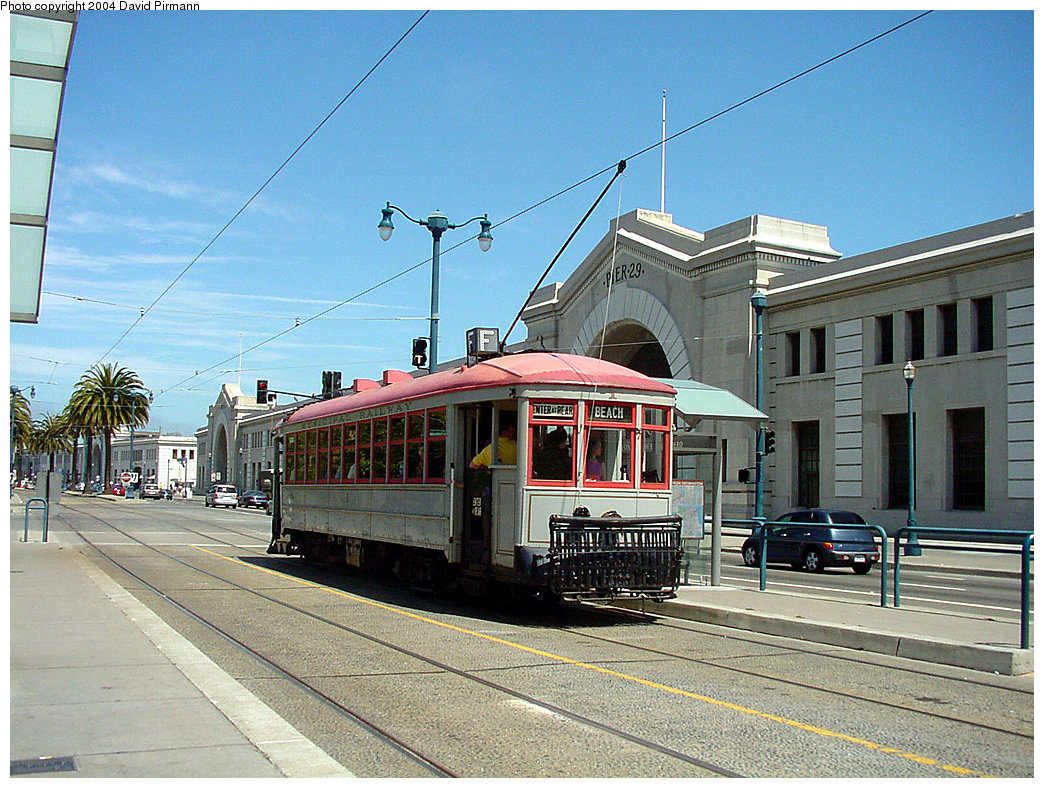 (291k, 1044x788)<br><b>Country:</b> United States<br><b>City:</b> San Francisco/Bay Area, CA<br><b>System:</b> SF MUNI<br><b>Location:</b> Embarcadero/Pier 29 <br><b>Route:</b> F-Market<br><b>Car:</b> SF MUNI A-Type (1912)  1 <br><b>Photo by:</b> David Pirmann<br><b>Date:</b> 7/5/2002<br><b>Viewed (this week/total):</b> 0 / 3338