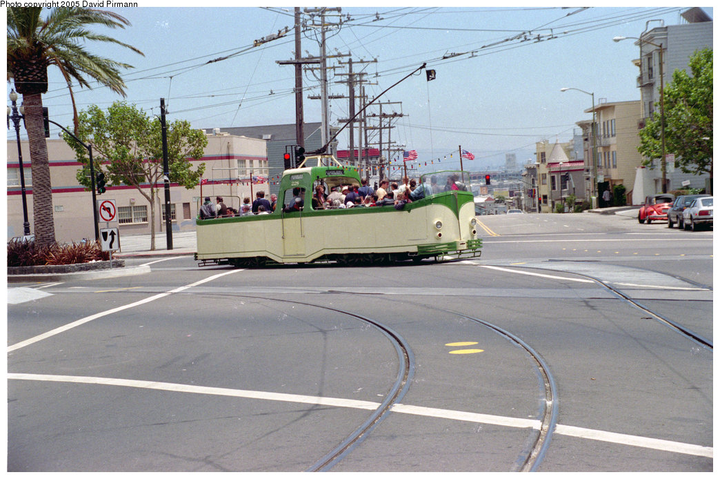 (241k, 1044x694)<br><b>Country:</b> United States<br><b>City:</b> San Francisco/Bay Area, CA<br><b>System:</b> SF MUNI<br><b>Location:</b> Market/Duboce <br><b>Route:</b> F-Market<br><b>Car:</b> Blackpool Boat (English Electric, 1934)  228 <br><b>Photo by:</b> David Pirmann<br><b>Date:</b> 7/7/1996<br><b>Notes:</b> Blackpool boat tram<br><b>Viewed (this week/total):</b> 1 / 2651