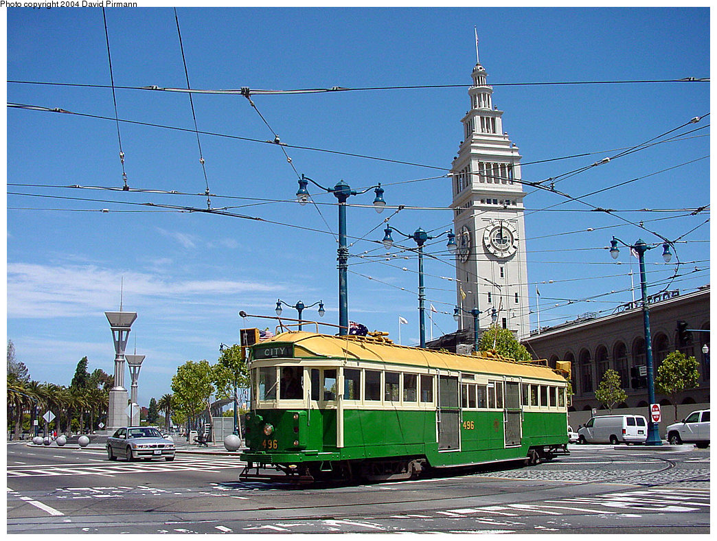 (317k, 1044x788)<br><b>Country:</b> United States<br><b>City:</b> San Francisco/Bay Area, CA<br><b>System:</b> SF MUNI<br><b>Location:</b> Don Chee Way/Justin Herman Plaza <br><b>Route:</b> F-Market<br><b>Car:</b> Melbourne W2 Class (1923-1931)  496 <br><b>Photo by:</b> David Pirmann<br><b>Date:</b> 7/5/2002<br><b>Viewed (this week/total):</b> 0 / 2499
