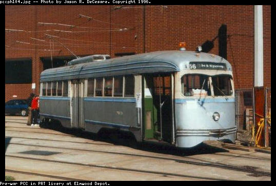 (44k, 538x363)<br><b>Country:</b> United States<br><b>City:</b> Philadelphia, PA<br><b>System:</b> SEPTA (or Predecessor)<br><b>Location:</b> Elmwood Depot <br><b>Car:</b> PTC/SEPTA Pre-war Air-car PCC (St.Louis, 1941)  2054 <br><b>Photo by:</b> Jason R. DeCesare<br><b>Notes:</b> PRT livery<br><b>Viewed (this week/total):</b> 1 / 14947